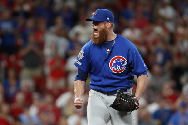 FILE - In this July 31, 2019, file photo, Chicago Cubs relief pitcher Craig Kimbrel celebrates after striking out St. Louis Cardinals' Yairo Munoz for the final out of a baseball game in St. Louis. The 32-year-old Kimbrel is looking to bounce back from one of the worst stretches of his stellar career. The seven-time All-Star closer never looked right after he got a late start last year, going 0-4 with a career-high 6.53 ERA and three blown saves in 16 chances. (AP Photo/Jeff Roberson, File)