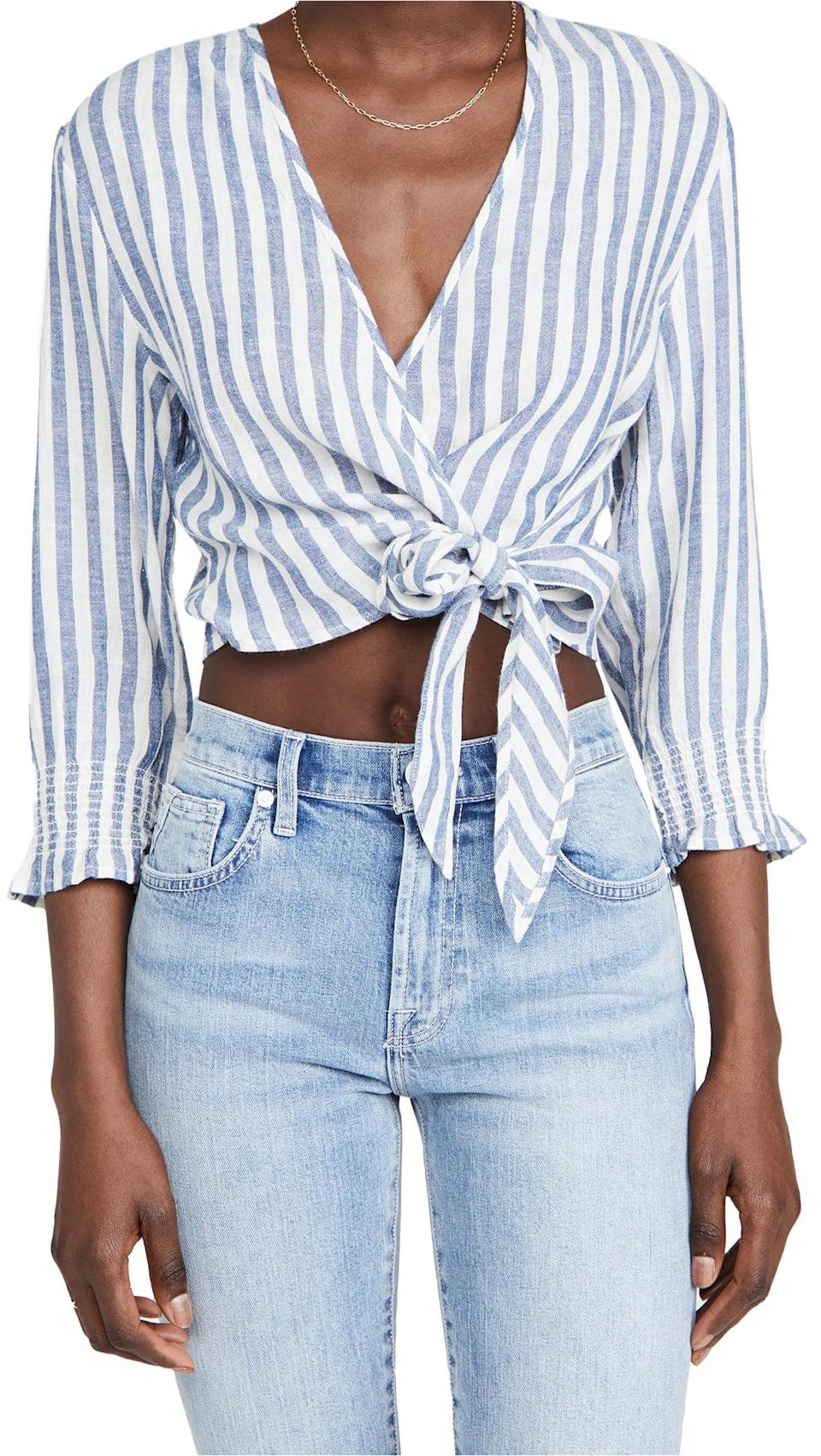 <p>We love how classic and comfortable this <span>Rails Raquel Shirt</span> ($138) is.</p>