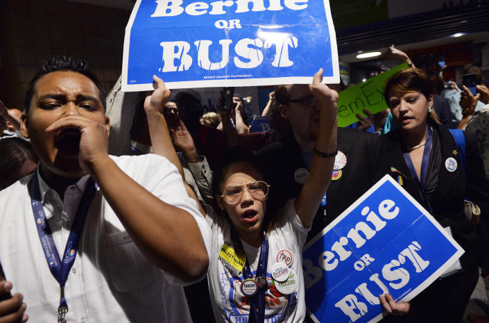 Sanders supporters at the Democratic convention in 2016. (Charles Mostoller/Reuters)