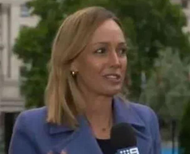 Nine News correspondent Sophie Walsh, 34, moments after the alleged incident (Picture: Nine News)