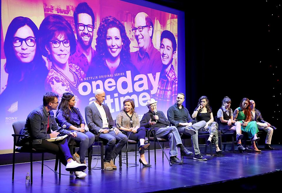"""<p>One year prior, Lear jumped back into the writing and producing game with <em>One Day at a Time, </em>a Cuban-American reboot of his original '70s show. Moreno and Justina Machado were among its stars, and when the <a href=""""https://ew.com/tv/2019/06/27/one-day-at-a-time-saved-pop-tv-fourth-season/"""" rel=""""nofollow noopener"""" target=""""_blank"""" data-ylk=""""slk:series was canceled by Netflix in 2019"""" class=""""link rapid-noclick-resp"""">series was canceled by Netflix in 2019</a>, Pop TV picked it up after outcry from fans. </p>"""