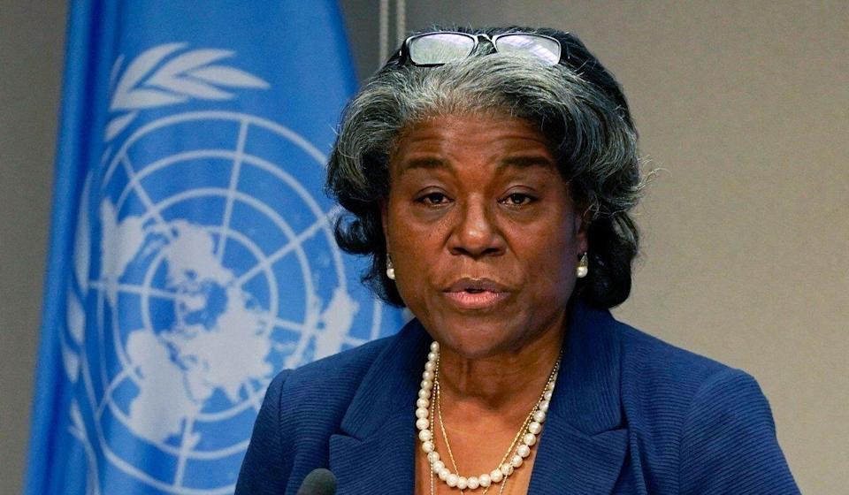 Linda Thomas-Greenfield, the US ambassador to the United Nations, speaks during a press briefing on Monday. Photo: AFP