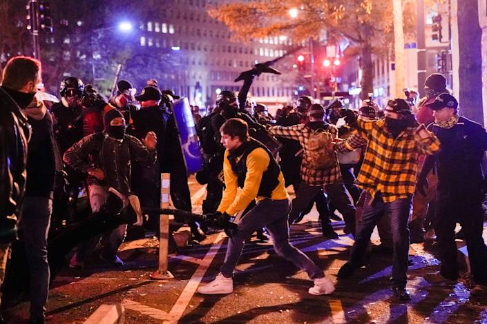 Members of the far-right group Proud Boys clash with counterprotesters in downtown Washington, D.C., on Dec. 12, 2020. (Photo: Erin Scott / Reuters)