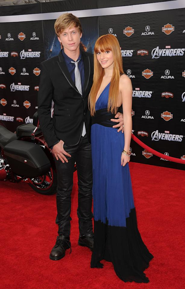 HOLLYWOOD, CA - APRIL 11:  Actress Bella Thorne and Tristan Klier arrive at the premiere of Marvel Studios' 'The Avengers' at the El Capitan Theatre on April 11, 2012 in Hollywood, California.  (Photo by Jason Merritt/Getty Images)
