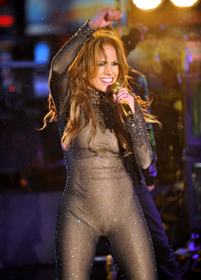 JLo  Jennifer Lopez has one of the coveted bodies in the business, but whoever green lit this hot mess for her New Year's Eve 2011 performance must've been out for blood! The unfortunate jumpsuit wrinkled in the most unflattering places and made JLo look like a frumpy amphibian. Just goes to show that bedazzling can rarely fix a disastrous look.