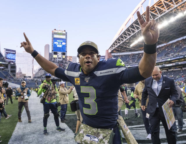 Russell Wilson faces his toughest test on Monday night against the rival 49ers. A strong performance there will make him THE candidate to beat in this year's MVP race. (Getty Images)