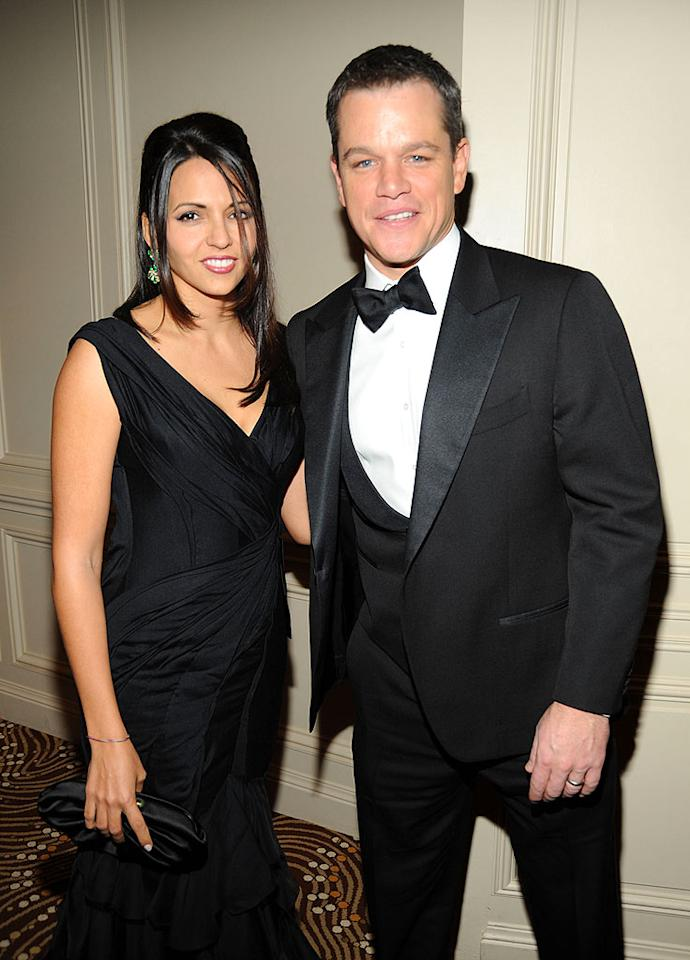 """Invictus"" star Matt Damon and his wife Luciana Barroso reunited with Damon's ""Ocean's"" pals at the ball. Kevin Mazur/<a href=""http://www.wireimage.com"" target=""new"">WireImage.com</a> - December 10, 2009"