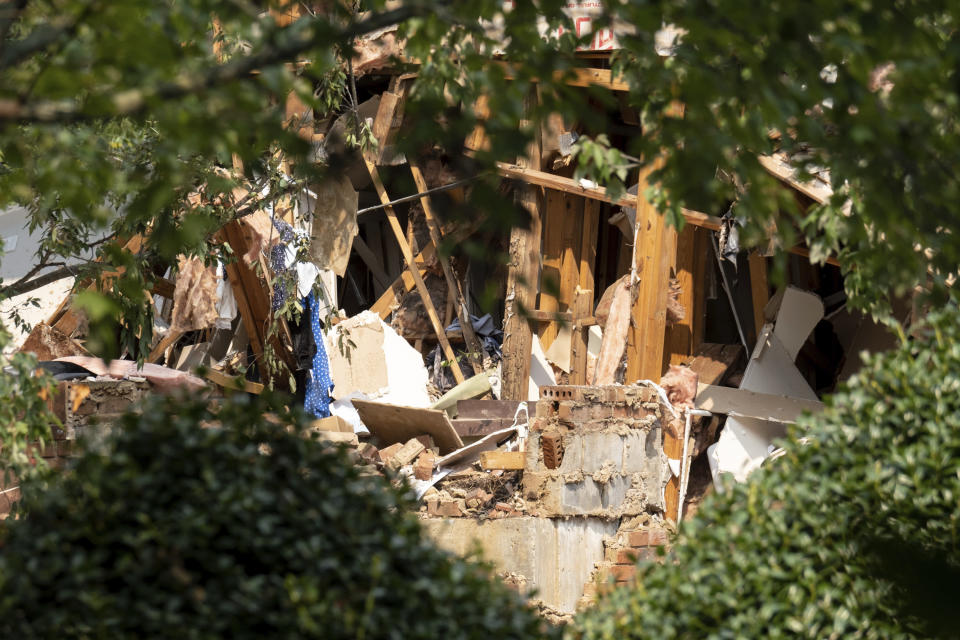 Damage to an apartment building is seen following an explosion, Sunday, Sept. 12, 2021, in Dunwoody, Ga., just outside of Atlanta. (AP Photo/Ben Gray)