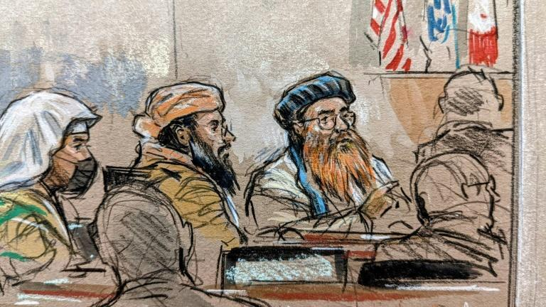 This courtroom sketch screened by US military officials shows accused September 11, 2001 attacks mastermind Khalid Sheikh Mohammed (R) along with co-defendants Ramzi bin al-Shibh (L) and Walid bin Attash (C) in a pretrial hearing (AFP/William J. HENNESSY)