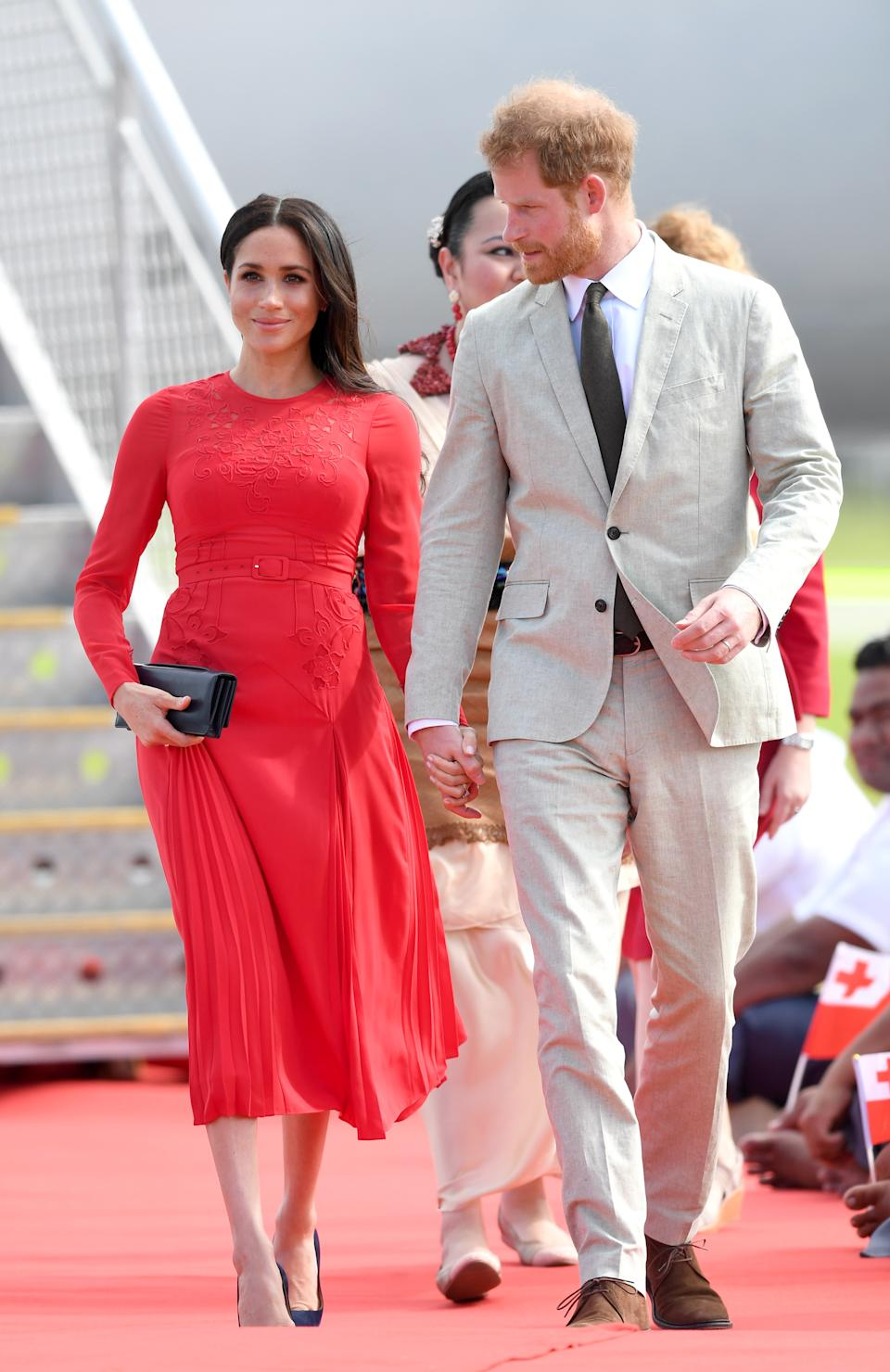 The Duchess wears a Self Portrait dress in Tonga [Photo via Getty Images]