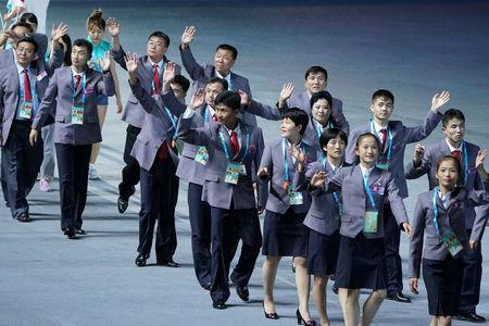 2017 Summer Universiade - Opening ceremony - Taipei Stadium, Taipei - August 19, 2017. North Korea's team arrives. REUTERS/Eason LamAugust