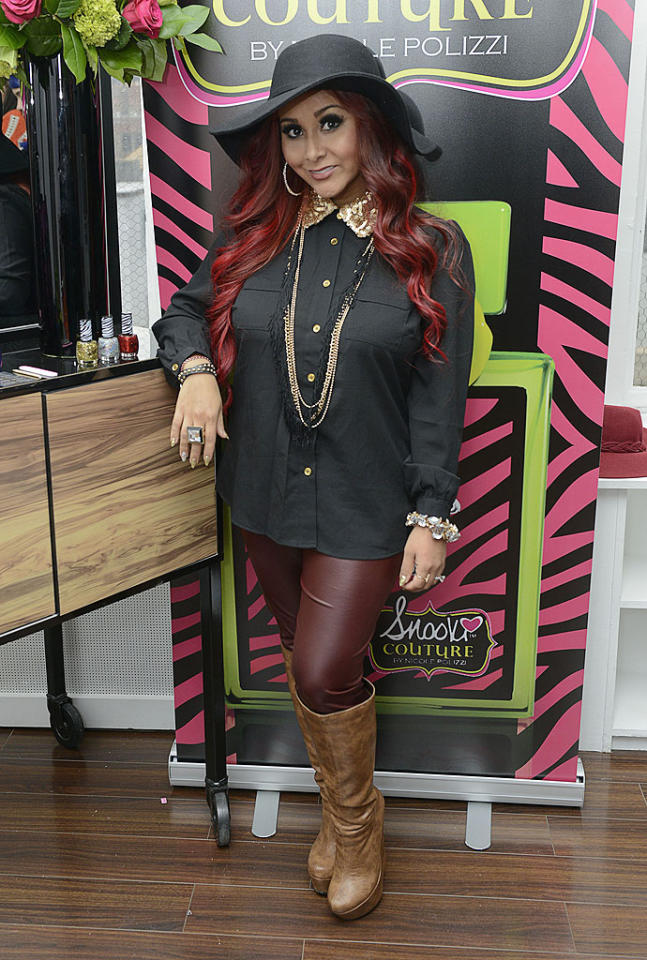 "NEW YORK, NY - NOVEMBER 13:  Nicole ""Snooki"" Polizzi attends the Snooki by Nicole Polizzi fragrance and polish launch at EZ Studios on November 13, 2012 in New York City.  (Photo by Eugene Gologursky/WireImage)"