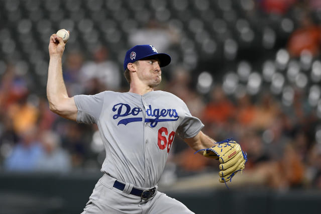 Los Angeles Dodgers starting pitcher Ross Stripling throws during the first inning of the team's baseball game against the Baltimore Orioles, Wednesday, Sept. 11, 2019, in Baltimore. (AP Photo/Nick Wass)
