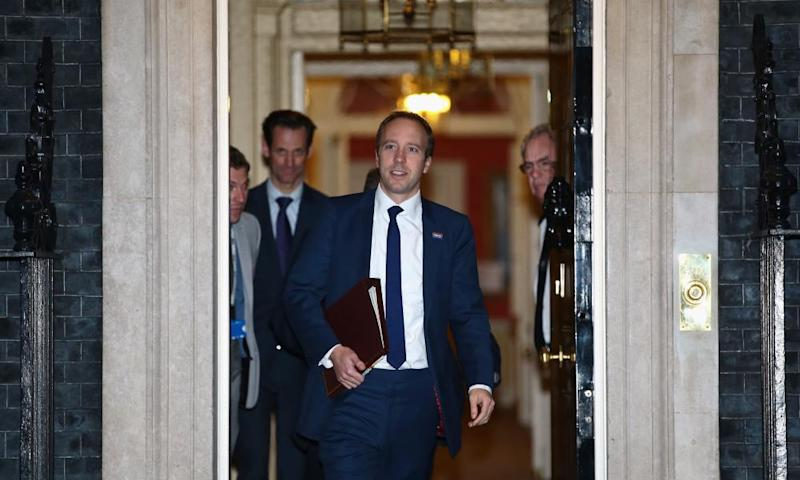 Matt Hancock leaves 10 Downing Street after being briefed on the Brexit deal.