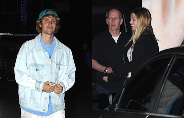 Justin Bieber and an unknown blonde go to a concert together. (Photo: Splash News)