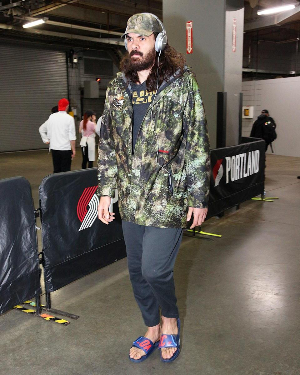 """<h1 class=""""title"""">April 16: Steven Adams</h1> <div class=""""caption""""> As Steven Adams knows, it's not really the NBA playoffs until someone wears slides without socks. </div> <cite class=""""credit"""">Sam Forencich</cite>"""
