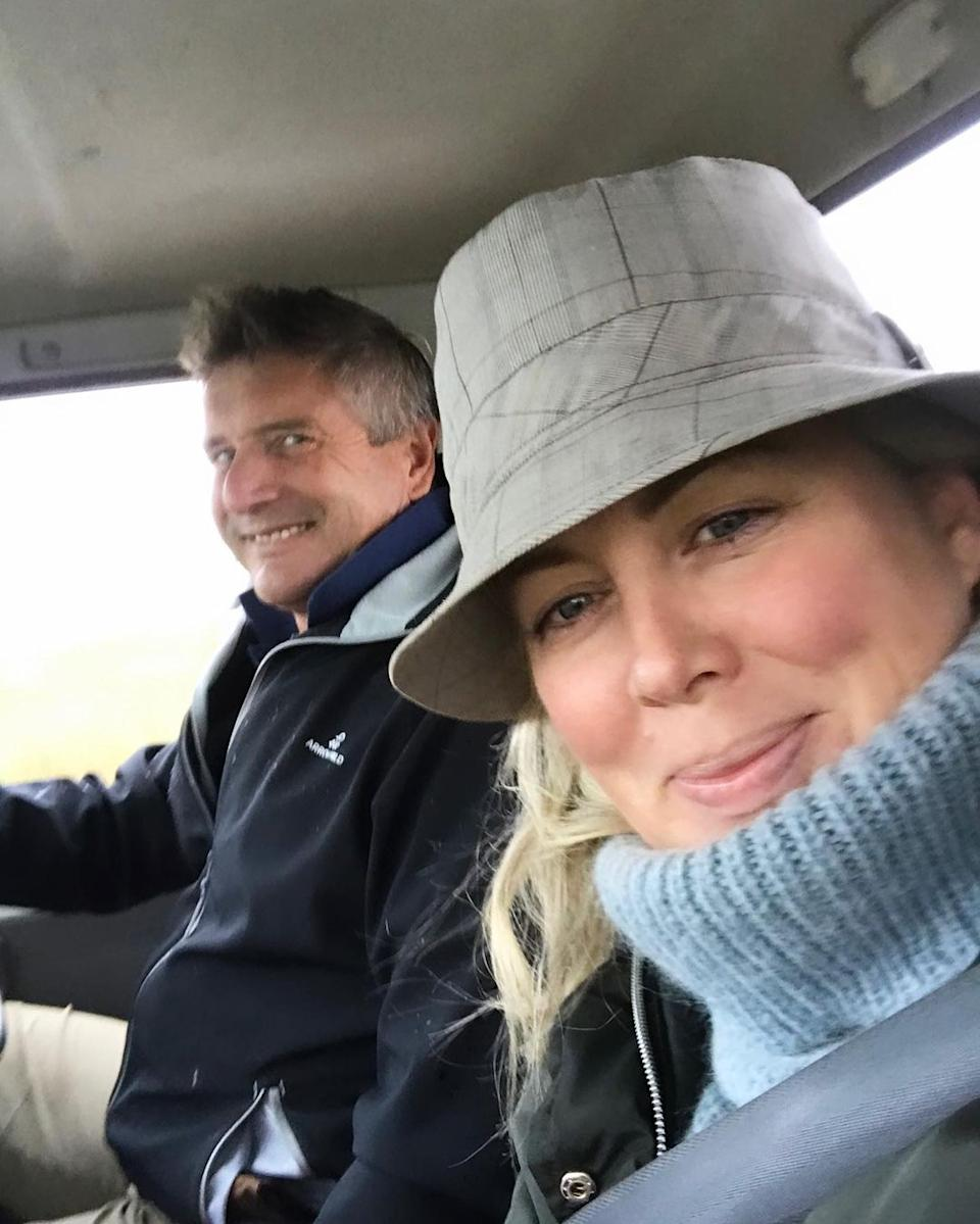 Former Sunrise co-host Sam Armytage in a car with with her husband Richard Lavender