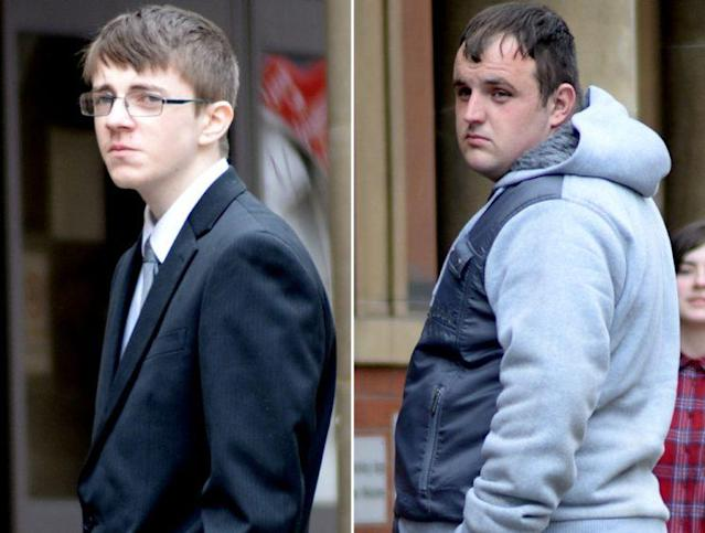 Adam Guy, 23, right, and Kieran Painter, 18, who have admitted six counts of criminal damage