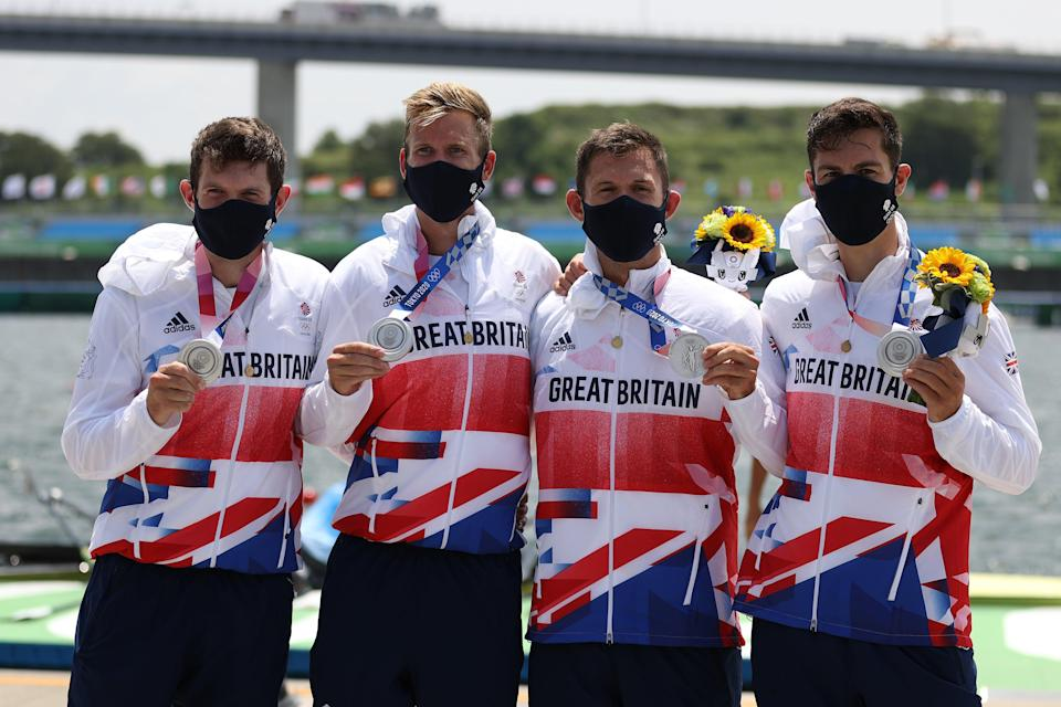 A silver for Tom Barras, Harry Leask, Jack Beaumont and Angus Groom is as good as it got for Team GB. (Getty Images)