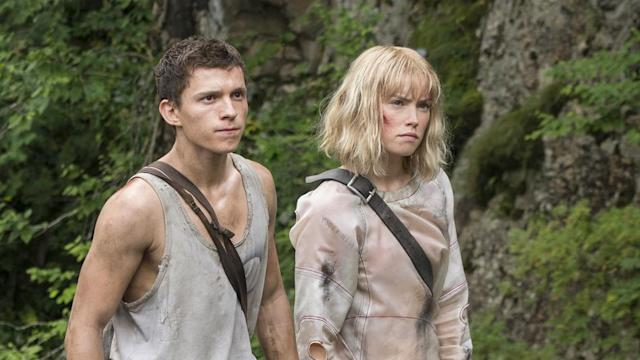 Tom Holland Daisy Ridley on the set of 'Chaos Walking'. (Credit: Lionsgate)
