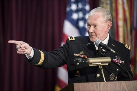 Chairman of the Join Chief of Staff Army General Martin Dempsey speaks at the NSA in Fort Meade