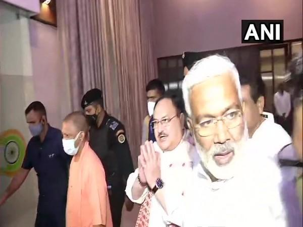BJP national president JP Nadda and Uttar Pradesh Chief Minister Yogi Adityanath leaving after the meeting of party MPs from UP (Photo/ANI)