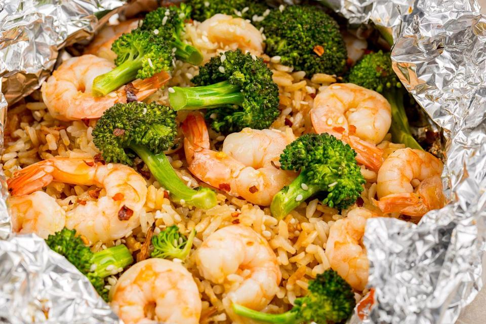 "<p>All the flavor of stir fry—no pan required!</p><p>Get the recipe from <a href=""https://www.delish.com/cooking/recipe-ideas/recipes/a47604/shrimp-broccoli-and-rice-foil-packs-recipe/"" rel=""nofollow noopener"" target=""_blank"" data-ylk=""slk:Delish"" class=""link rapid-noclick-resp"">Delish</a>.<br></p><p><strong><em><a class=""link rapid-noclick-resp"" href=""https://www.amazon.com/gp/product/B001QFYAJ0/?th=1&tag=syn-yahoo-20&ascsubtag=%5Bartid%7C1782.g.241%5Bsrc%7Cyahoo-us"" rel=""nofollow noopener"" target=""_blank"" data-ylk=""slk:BUY NOW"">BUY NOW</a> </em></strong><strong><em>Le Creuset Cast Iron Grill Pan, $58, amazon.com</em></strong><br></p>"