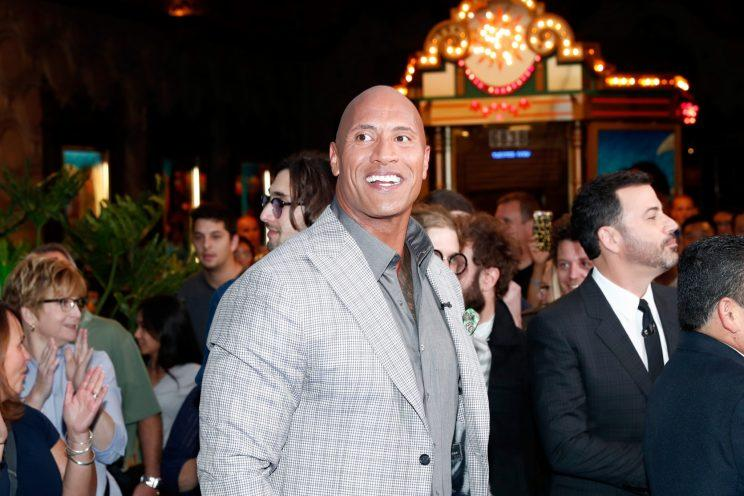 Dwayne Johnson (left) and Jimmy Kimmel at the world premiere of Disney's