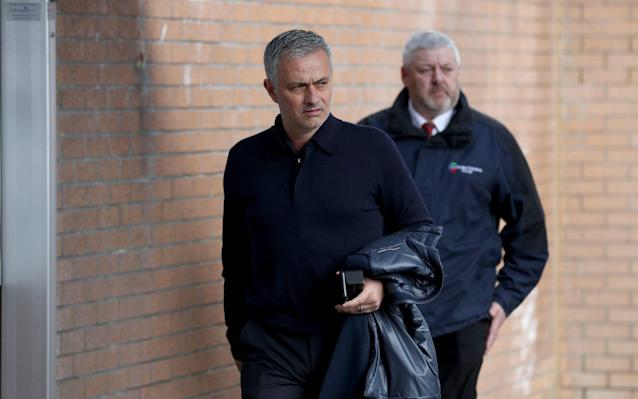 <span>Jose Mourinho arrives at the stadium before the Premier League match at Turf Moor</span> <span>Credit: PA </span>