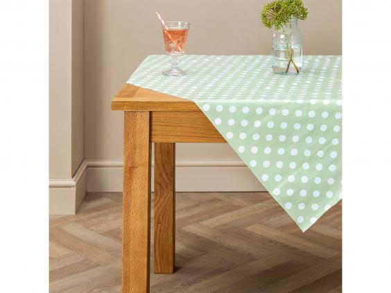 Set the table as you would at home with a tablecloth (Dunelm)