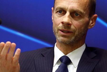 UEFA president Aleksander Ceferin speaks during a news conference in Stara Pazova, Serbia