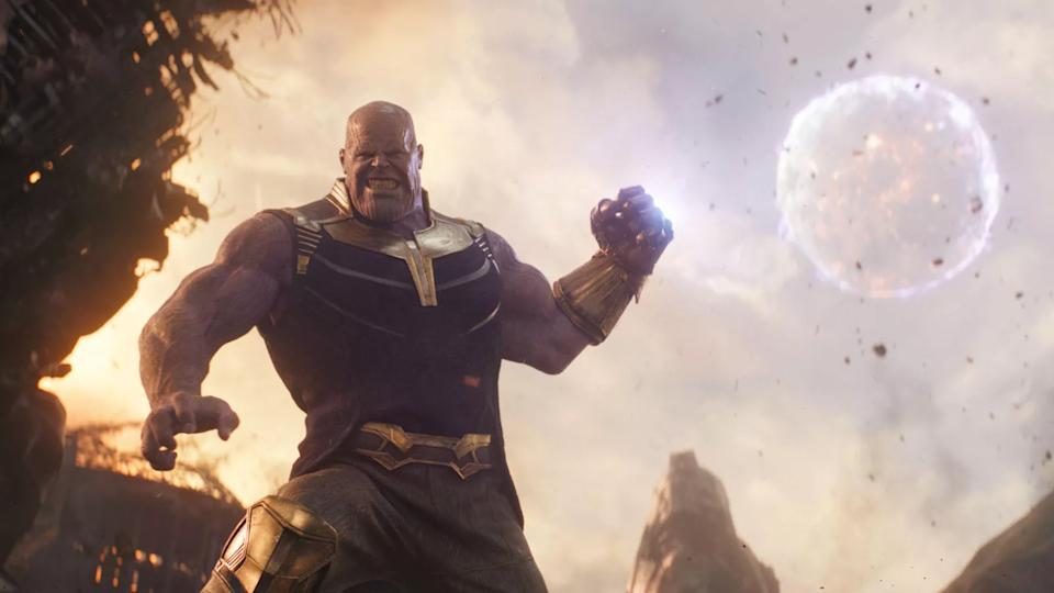 Josh Brolin as the villain Thanos in 'Avengers: Infinity War'. (Credit: Disney/Marvel)