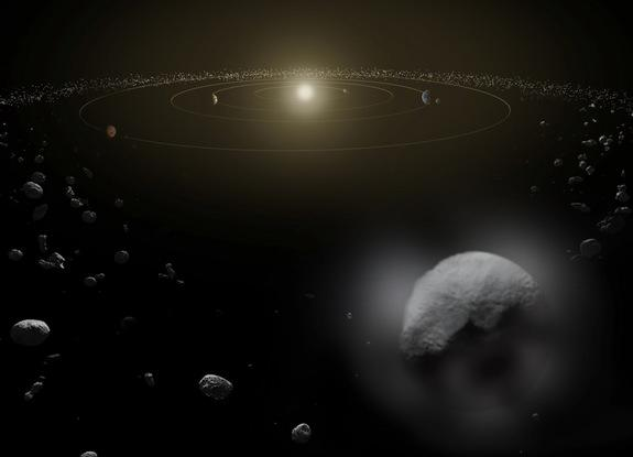 An artist's impression of the dwarf planet Ceres, which appears to have a water vapor atmosphere from outgassing on the object. Inset: The water absorption signal detected by the European Space Agency's Herschel space observatory on Oct. 11, 20