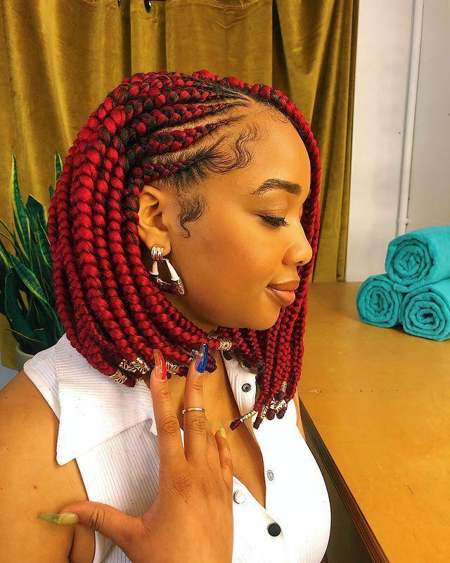 "<p>Amp up your look and prepare to turn heads with this fiery red braided bob. Note the pretty gold cuffed ends. </p><p><a href=""https://www.instagram.com/p/B0eua6zFMnl/?utm_source=ig_embed&utm_campaign=loading"" rel=""nofollow noopener"" target=""_blank"" data-ylk=""slk:See the original post on Instagram"" class=""link rapid-noclick-resp"">See the original post on Instagram</a></p>"