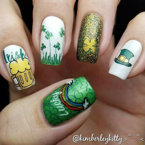 """<p>There's so much happening here, just like the festivities on March 17. Whether you're actually Irish, or just have a passion for the color green, you can't go wrong with these nails. </p><p><strong>RELATED: </strong><a href=""""https://www.goodhousekeeping.com/holidays/g26235518/fun-st-patricks-day-activities/"""" rel=""""nofollow noopener"""" target=""""_blank"""" data-ylk=""""slk:17 Best St. Patrick's Day Activities for a Day Full of Magical Fun"""" class=""""link rapid-noclick-resp"""">17 Best St. Patrick's Day Activities for a Day Full of Magical Fun</a></p><p><a href=""""https://www.instagram.com/p/Bfoq6PsAQkd/&hidecaption=true"""" rel=""""nofollow noopener"""" target=""""_blank"""" data-ylk=""""slk:See the original post on Instagram"""" class=""""link rapid-noclick-resp"""">See the original post on Instagram</a></p>"""