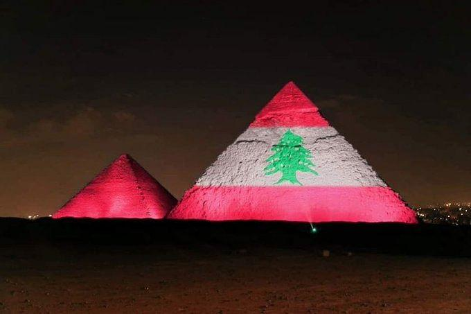 An old picture from April has been photoshopped to show support to Lebanon.