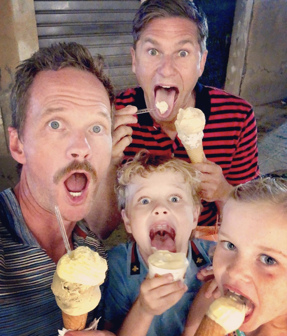 <p>Neil Patrick Harris and David Burtka on vacation in Italy with their twins, Harper and Gideon. </p>
