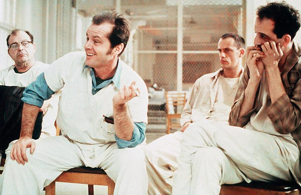 """<a href=""""http://movies.yahoo.com/movie/one-flew-over-the-cuckoos-nest/"""" data-ylk=""""slk:ONE FLEW OVER THE CUCKOO'S NEST"""" class=""""link rapid-noclick-resp"""">ONE FLEW OVER THE CUCKOO'S NEST</a> (1975) <br>Directed by: <span>Milos Forman</span> <br>Starring: <span>Jack Nicholson</span>, <span>Louise Fletcher</span> and <span>William Redfield</span>"""