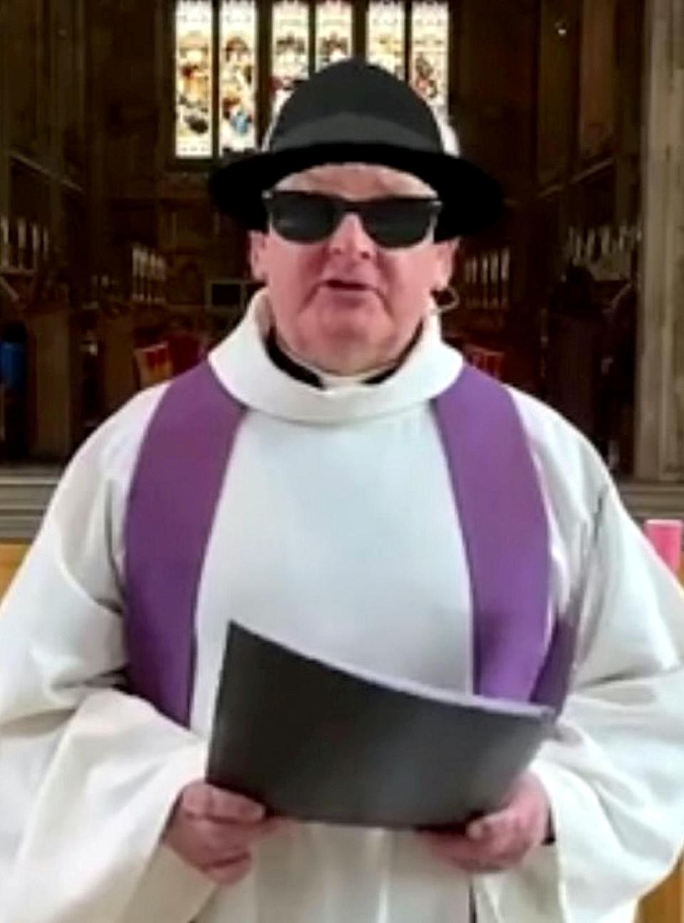 Reverend Vaughan Roberts, 62, conducted a church service with a Blues Brother filter on after a mishap with his Zoom account (swns)