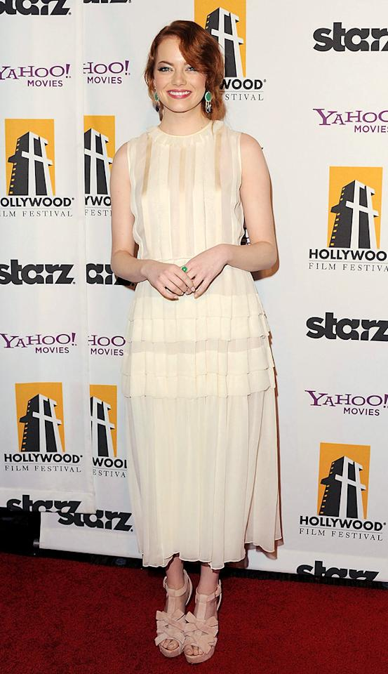 "<a href=""http://movies.yahoo.com/movie/contributor/1809635883"">Emma Stone</a> at the 15th Annual Hollywood Film Awards in Beverly Hills, California on October 24, 2011."