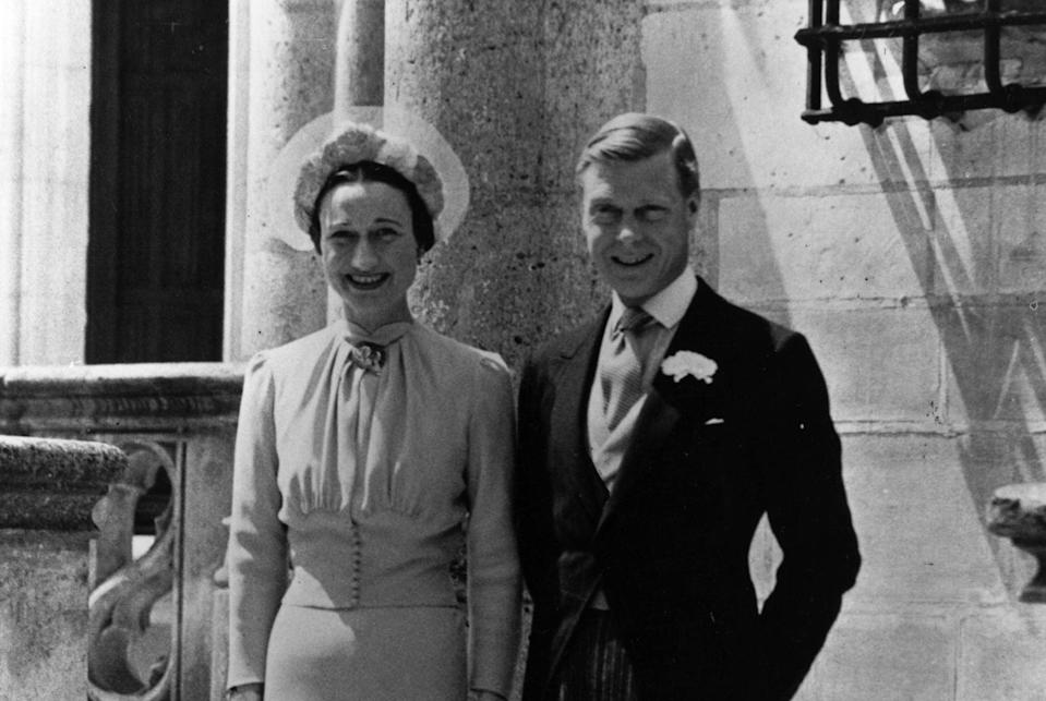 <p>Duke of Windsor and Mrs Wallis Simpson on their wedding day at Chateau de Conde, France.</p> (Getty Images)