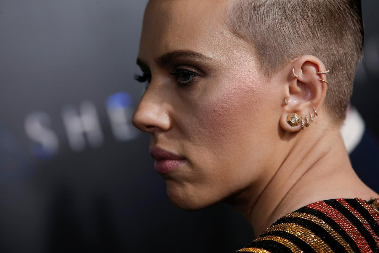 Actor Scarlett Johansson poses as she arrives for the premiere of the film 'Ghost In The Shell' in New York City, New York, U.S., March 29, 2017.  REUTERS/Mike Segar     TPX IMAGES OF THE DAY