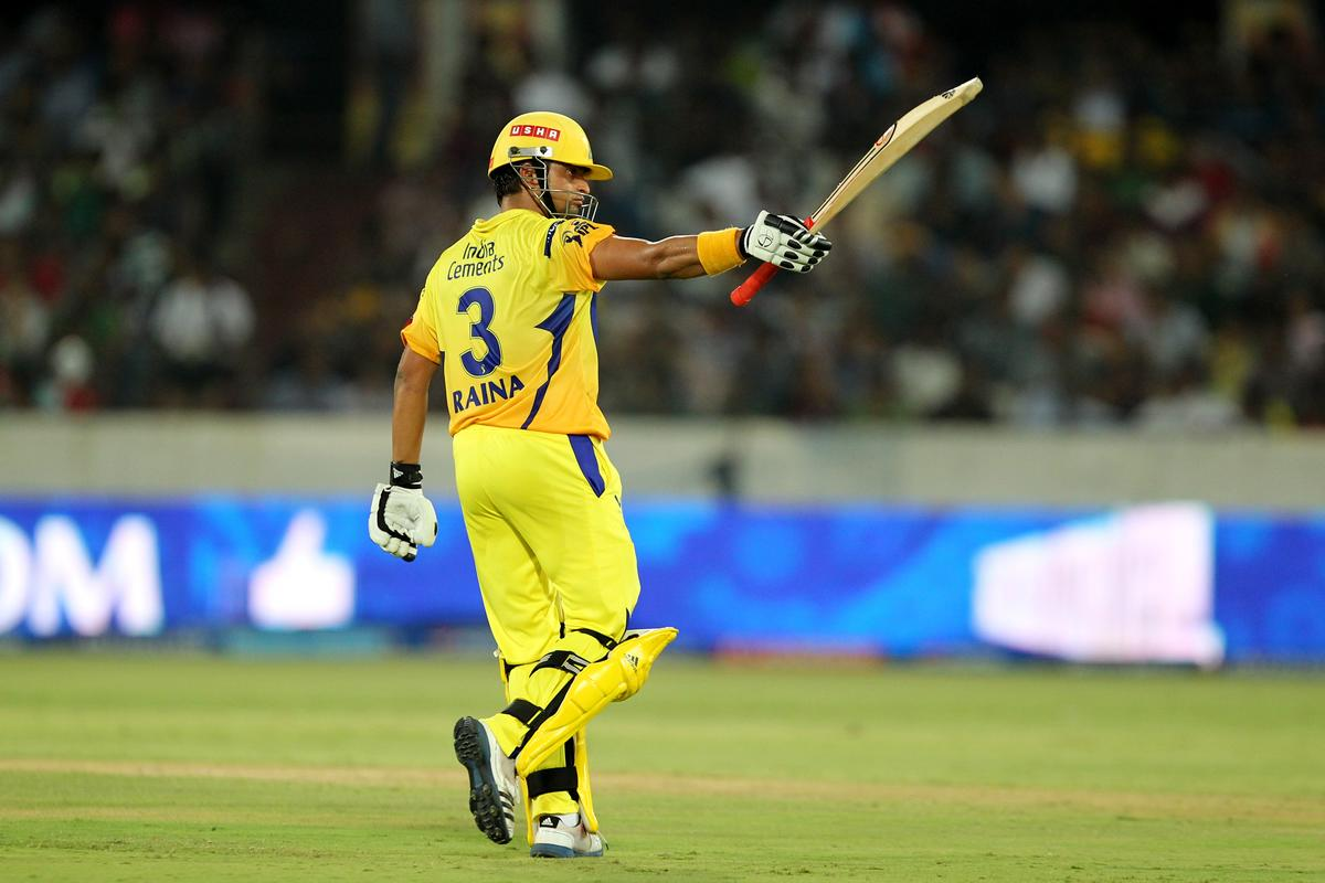 Suresh Raina acknowledges on getting half century during match 54 of the Pepsi Indian Premier League between The Sunrisers Hyderabad and Chennai Superkings held at the Rajiv Gandhi International  Stadium, Hyderabad  on the 8th May 2013Photo by Prashant Bhoot-IPL-SPORTZPICS Use of this image is subject to the terms and conditions as outlined by the BCCI. These terms can be found by following this link:https://ec.yimg.com/ec?url=http%3a%2f%2fwww.sportzpics.co.za%2fimage%2fI0000SoRagM2cIEc&t=1506430928&sig=e8_5.AiHpKAjXufcCIWGzg--~D