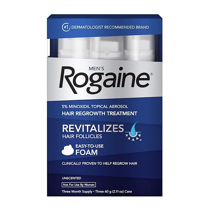 "Norris didn't recommend a specific Rogaine product, but she said the well-known brand's one of the best options out there. Ferrara mentioned using Rogaine, too. <br><br>This <a href=""https://amzn.to/3bIF1wj"" rel=""nofollow noopener"" target=""_blank"" data-ylk=""slk:topical aerosol from Rogaine"" class=""link rapid-noclick-resp"">topical aerosol from Rogaine</a> is meant to help regrow your hair. It has over 6,000 reviews and a 4.1-star rating.<br><br><a href=""https://amzn.to/2DKyvs9"" rel=""nofollow noopener"" target=""_blank"" data-ylk=""slk:Rogaine"" class=""link rapid-noclick-resp"">Rogaine</a> is probably best known for its men's hair loss products, but it has <a href=""https://amzn.to/2GIibcx"" rel=""nofollow noopener"" target=""_blank"" data-ylk=""slk:products for women's hair"" class=""link rapid-noclick-resp"">products for women's hair</a>, too. <br><br> <a href=""https://amzn.to/2DKyvs9"" rel=""nofollow noopener"" target=""_blank"" data-ylk=""slk:Check out Rogaine's hair loss products"" class=""link rapid-noclick-resp"">Check out Rogaine's hair loss products</a>."