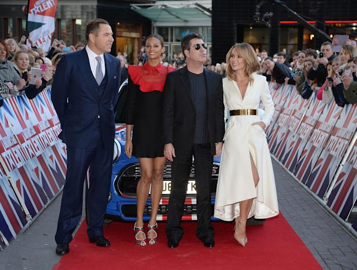 """Simon Cowell, Alesha Dixon, David Walliams and Amanda Holden at the Lowry Theatre for Day 3 of the Manchester auditions for """"Britain's Got Talent"""". (KGC-246/STAR MAX/IPx)"""