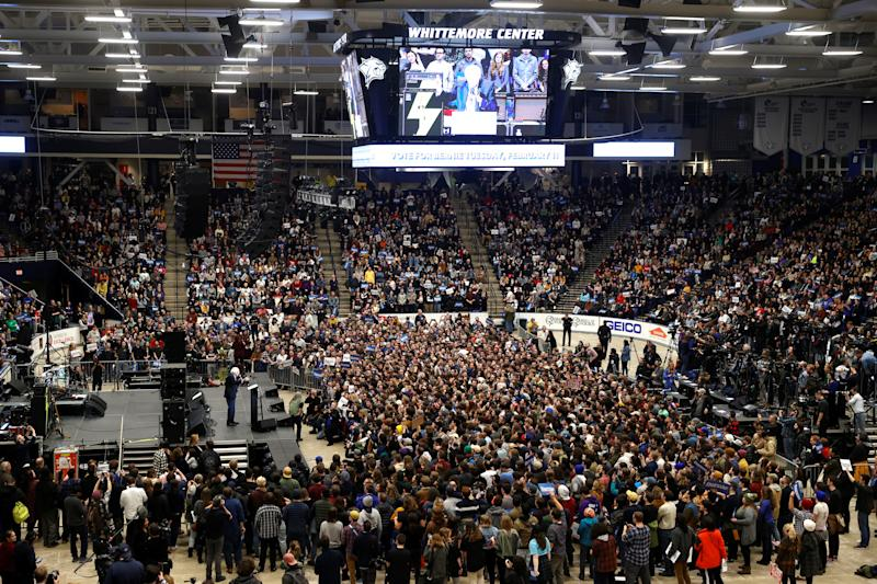Sen. Bernie Sanders speaks at a campaign rally and concert at the University of New Hampshire one day before the New Hampshire presidential primary election in Durham, New Hampshire, U.S., February 10, 2020. (Mike Segar/Reuters)