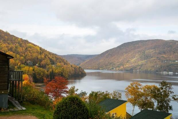 The view from Knotty Pine Cottages during fall in Ingonish Beach, N.S.