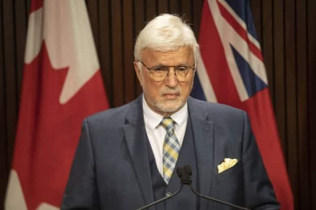 Chatham-Kent-Leamington MPP Rick Nicholls has been removed from the Progressive Conservative caucus after telling reporters he wouldn't take the shot. He was one of the two Progressive Conservatives who were told to get a COVID-19 vaccine by Thursday or get kicked out of caucus. (Chris Young/The Canadian Press - image credit)
