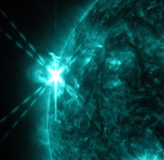 NASA's Solar Dynamics Observatory captured this image of an M5.7-class flare on May 3, 2013, at 1:30 p.m. EDT. This image shows light in the 131-angstrom wavelength, a wavelength of light that can show material at the very hot temperatures of a
