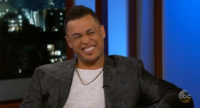 Giancarlo Stanton had this reaction when Kimmel suggested he'd look good in a Mets uniform. In a word: nope. (Youtube/JimmyKimmelLive)